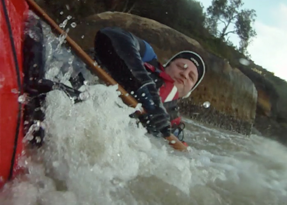 Side surfing again. A very wet day behind the paddle today!