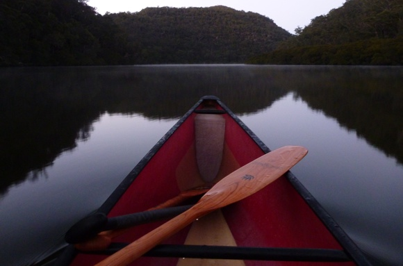 First light over the glass waters of Berowra. Just me and my Badger Paddles.