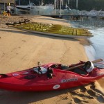 Back on the beach - the Remix stands out against all the the long thin sea kayaks - a bit like me!