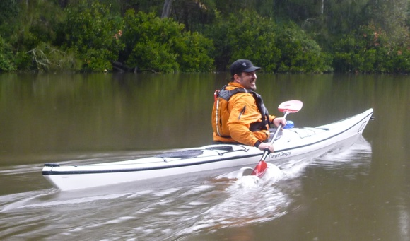 Mike trials the Current Design kayak - fast, light, and a tad tippier than his Tupperware boat