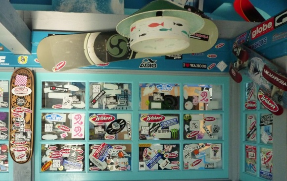 The internal sticker-wall at Wahoos  now complete for Fat Paddler Goodness