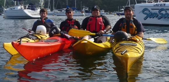 A few of the morning's paddling crew in a range of boats