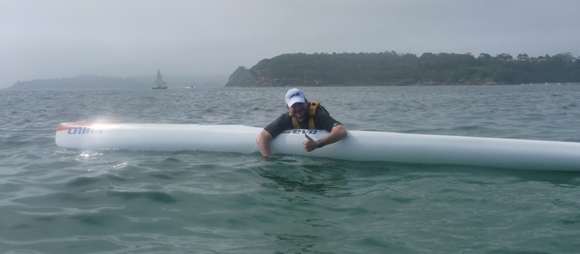 Nat demonstrates how handy ski's are for floating on when you need a rest