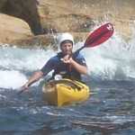 Mistico gets to play in his first white water, a relatively gentle rebound wave