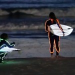 "Neon surfers at Australia's iconic Bondi Beach. Local's refer to them as ""shark bait""..."