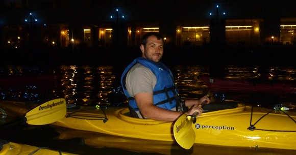 Night paddling is a beautiful way to experience a city