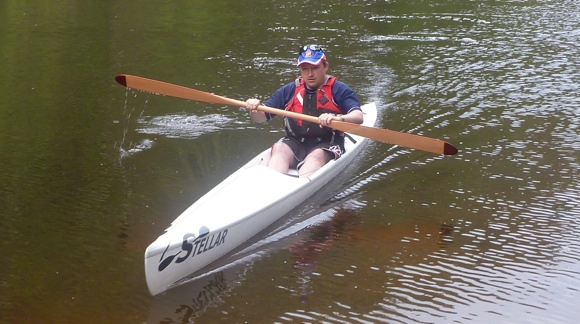 Grumm gives the Stellar SR surfski a go. A touch tippy perhaps Grumm??