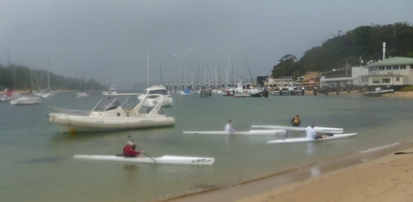 8.30am. Despite the rain, TFP beginners play with different surf skis. And swim a lot!