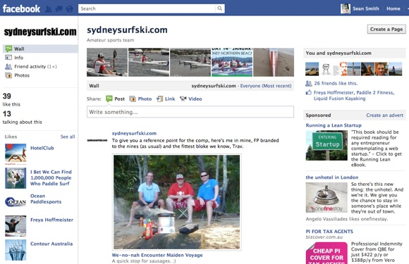 The Facebook page for Sydneysurfski.com