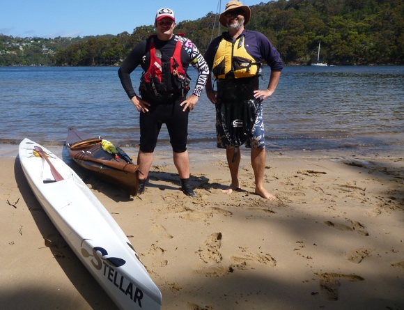 FP and Tom with their respective boats on a Middle Harbour beach. Time to swap!