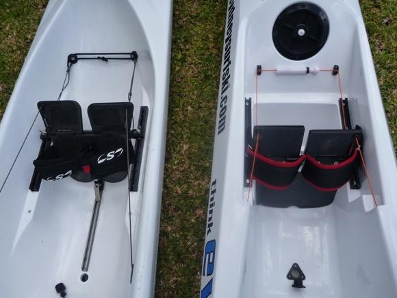 Respective foot-plate setup on both skis (Evo on right, Stellar on left)