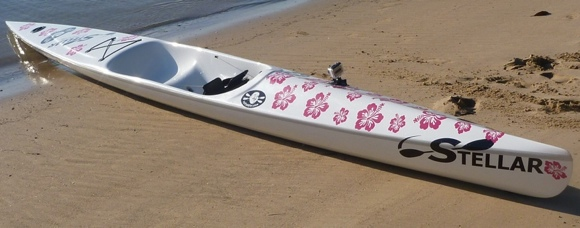 The shiny pink flowery version of the Stellar SR. Yes, even smaller lady paddlers enjoy the SR