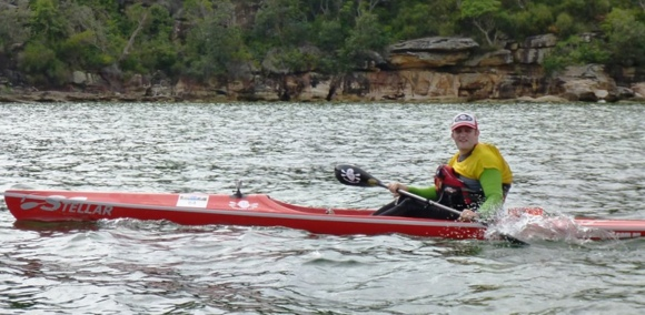 FP on his Stellar SR surfski nearing the end of the race (Pic courtesy of Sydney Harbour Kayaks)