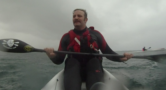 FP taking his inspiration from Magnum PI, the King of Mo-wearing surfski paddlers