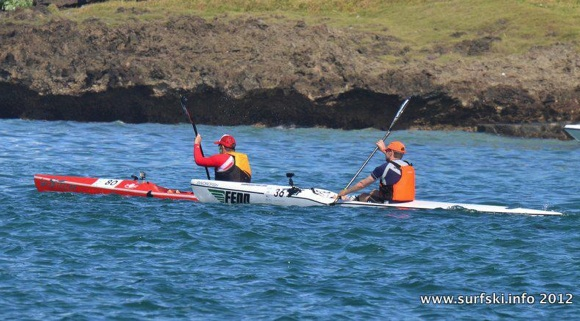And they're off! FP and Nat head out to sea at the start of the Mauritius Ocean Classic (Img credit: www.surfski.info)