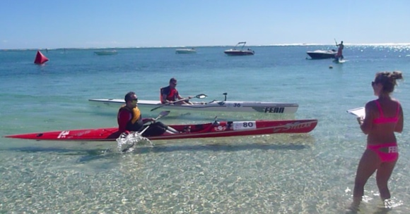 Nat and FP finally hit the finish line for the 2012 Mauritius Ocean Classic