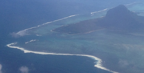 The Le Morne pass, as taken from the air. That white stuff is huge surf breaking on reef.