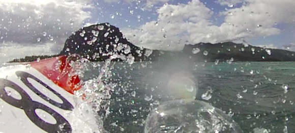 Coming into Le Morne pass - a wet bumpy ride ahead for Team Fat Paddler
