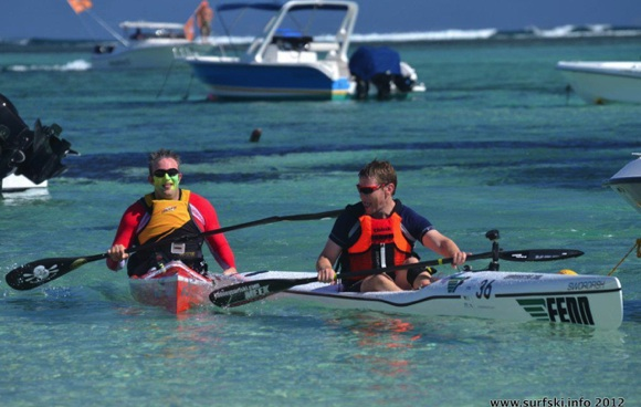 FP & Nat at the end of the 2012 Mauritius Ocean Classic (Img credit: Rob Mousley - www.surfski.info)