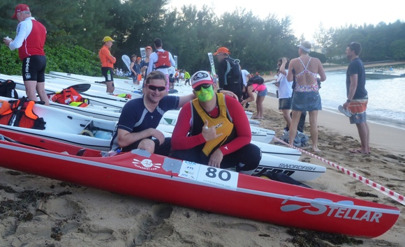 Nat and FP pose by the boats down on the beach. Not long until race time.