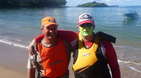 Mauritius Ocean Classic Race Director Anton Erasmus wishes Team Fat Paddler luck