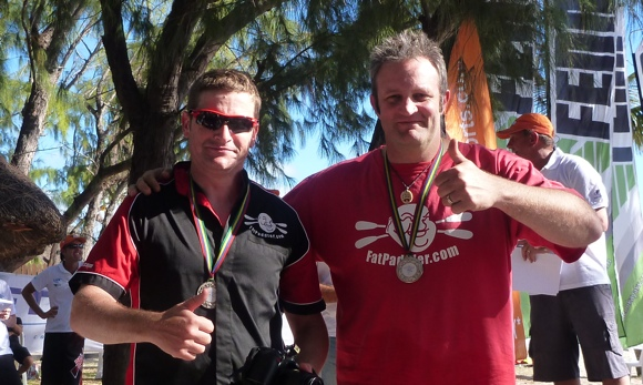 Nat and FP with their Mauritius Ocean Classic medals. We made it!