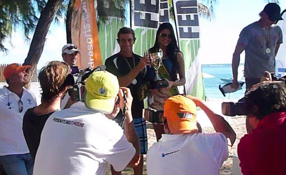 Mauritius Ocean Classic 2012 Men's Winner, Dawid Mocke with Miss Brasil! To the Victor!