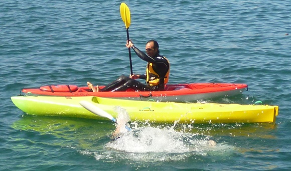 """Jay """"The Terminator"""" flipping another competitor into the water!"""