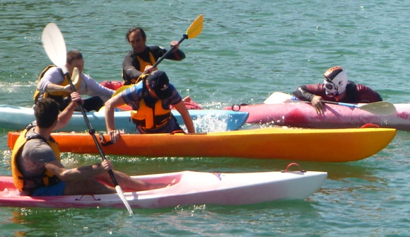 Tagged AND tipped out into the drink! The goal post starting to get weary.. and bruised!