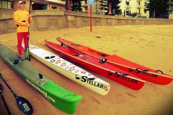 Slipstream Surf X-cite spec ski, two Stellar SR surfskis, and a Stellar S18S cross-over ski