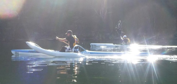 New to Team Fat Paddler - Andrew and his OC1, and Darren and his surfski. Yeew!