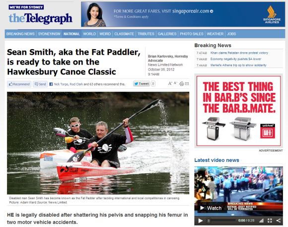 Fat Paddler featured nationally across the News Ltd news network
