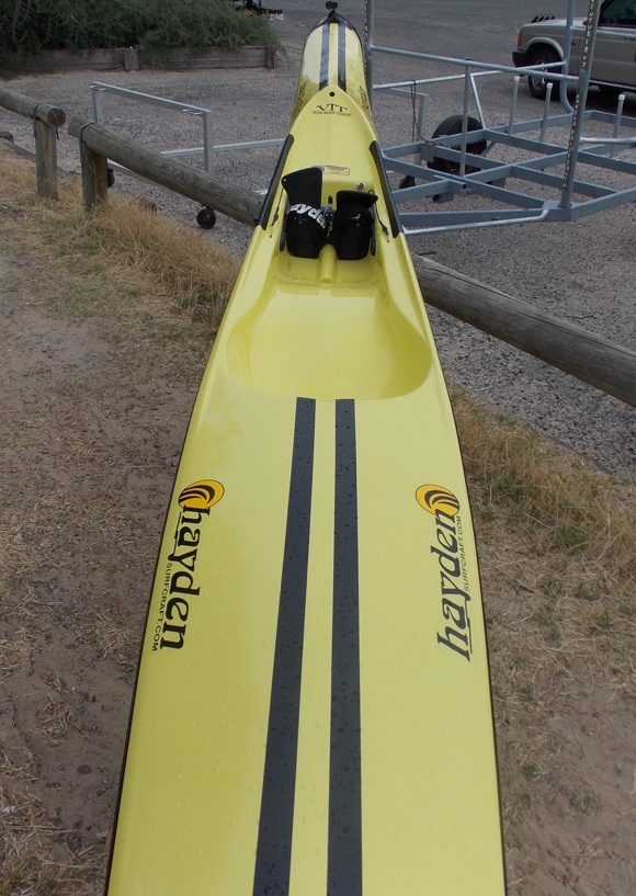 The Hayden Fat Boy spec surfski - skinny at the nose, fat in the arse
