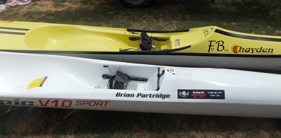 Surfski Comparison: The Fat Boy next to Brian's Epic V10S