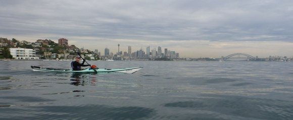 Jason's first paddle on Sydney Harbour... a nice background to start his journey