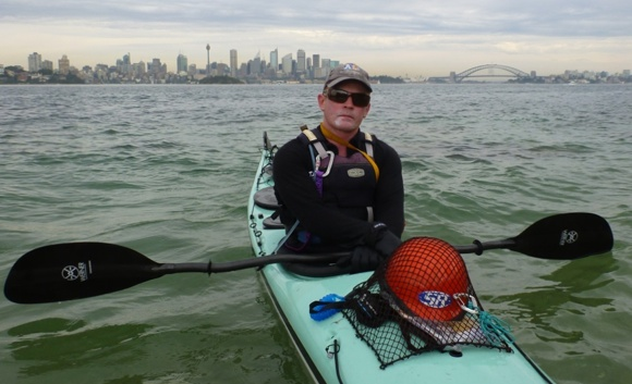 Jason Beachcroft in Sydney as he commences his paddle around Australia