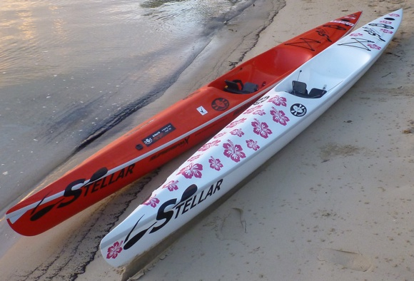My two Stellar SR surfskis in the Advantage lay-up. The floral one is actually my wifes!
