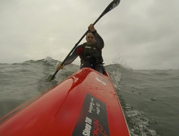Riding some nice fat storm swell coming through Sydney Heads