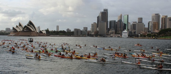 A spectacular background for the start of the Manly Wharf Bridge to Beach