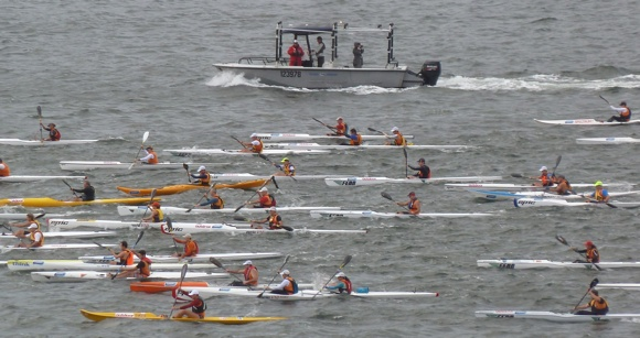Sydney Harbour full of thrashing paddlers. Yeew!