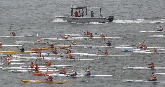 Sydney Harbour full of thrashing paddlers. Yeew!