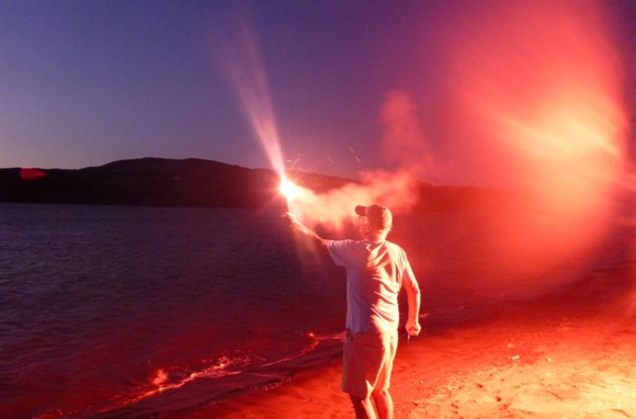 Marine flare testing. Looked to me like people were enjoying it WAY too much!