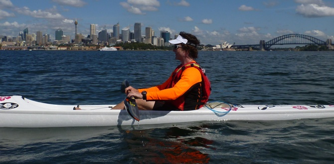 Don and the Sydney city backdrop. A tough place to paddle!