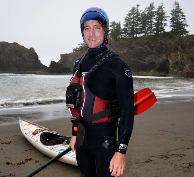 Don as I expected to see him.... wetsuit, helmet, and ready for rocks! (Photo credit: Jim Kakuk)