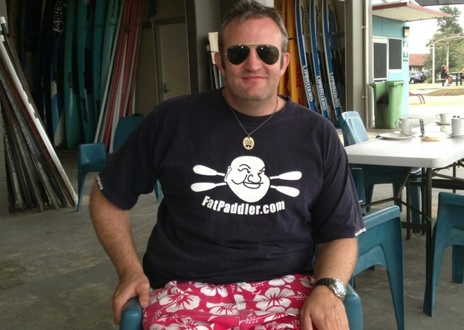 Your's truly in post-paddle coffee mode at the Ocean Beach SLSC