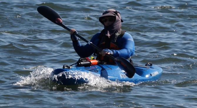 "TFP member Ben ""the ninja"" Eagleston finished two days behind the resot of the surfski pack..."