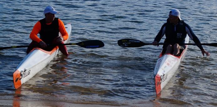 Stellar surfski paddlers Gavin Clark and Matt O'Garey comparing skis