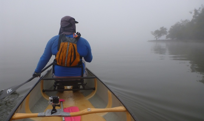 TFP member Ben paddling through the Berowra fog