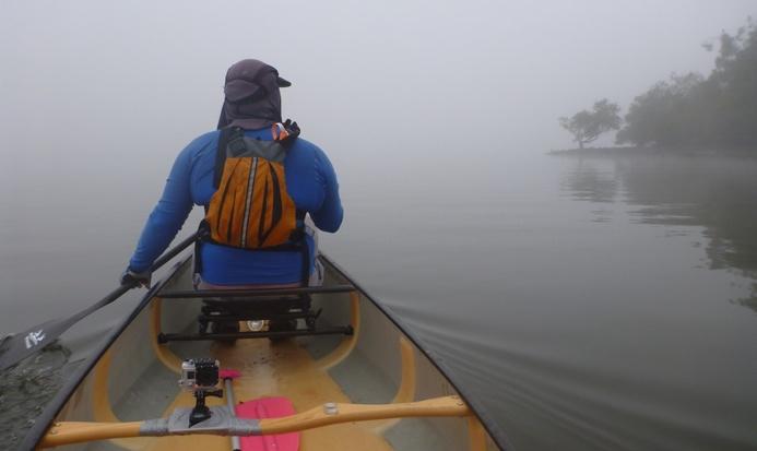 TFP member Ben paddling through the Berowra fog