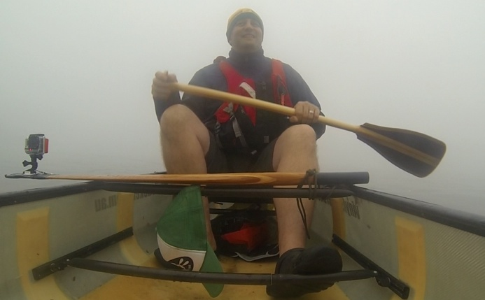 FP enjoying canoeing through the fog
